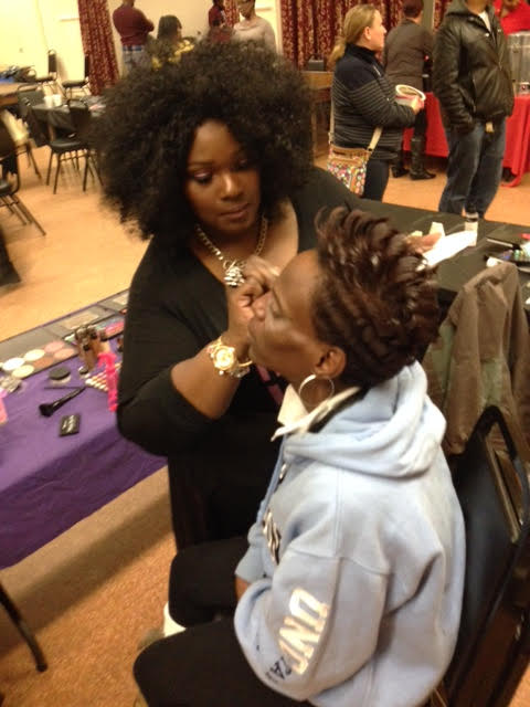 Empowering Through Beauty makeup artistry team member Shondell Thomas. Hair by Teresa Gorham
